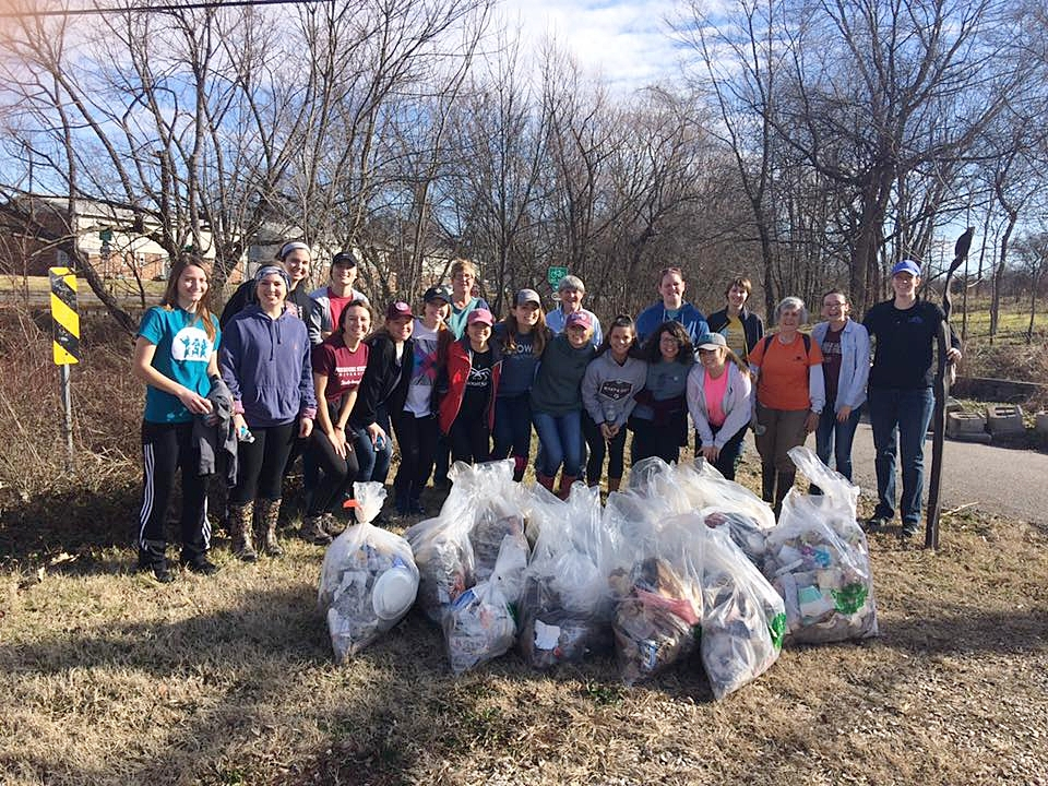 MSU Students lend energy and enthusiasm to make a big contribution along the South Creek  Conservation  project.