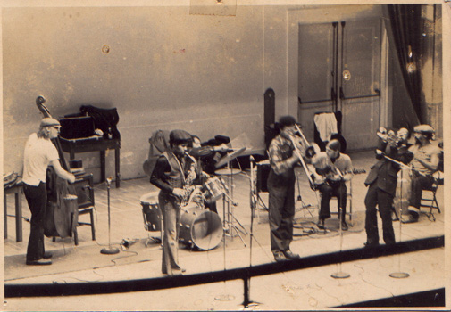 "Human Arts Ensemble:,Columbia University, NYC  left to right: John Lindberg, Luther Thomas, Charles ""BoBo"" Shaw, George Lewis, James Emery, Lester Bowie, Philip Wilson"