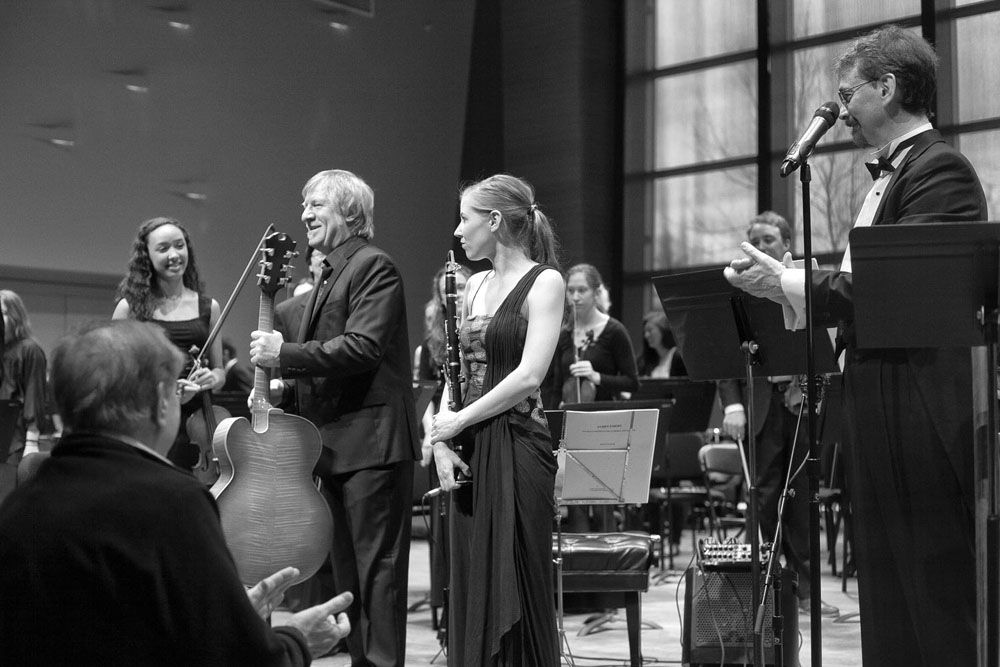 Skidmore College Orchestra, James Emery, guitar, Hannah Emery, clarinet photo by Patricia Kantzos