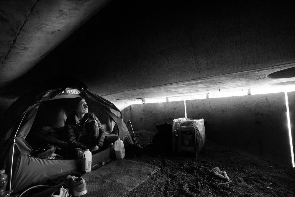 Steve and Michelle choose pure isolation in this tomb directly beneath Highway 101 as they hide out from police. March 8, 2017.
