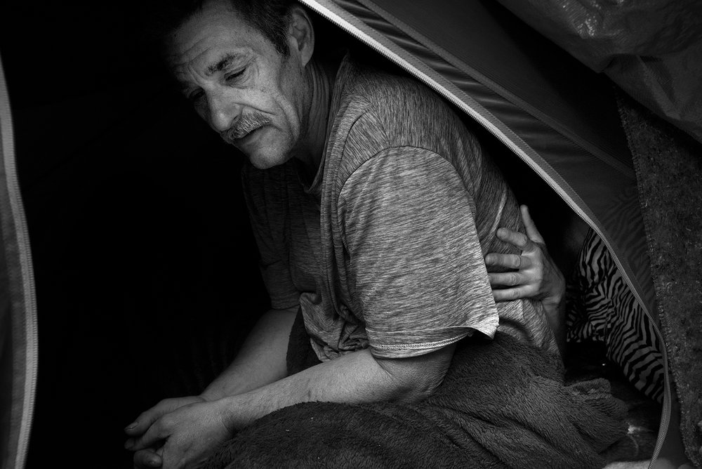 """Sometimes I feel better out here than I do in a house,"" Steve says while the couple lives on the banks of the Santa Rosa Creek. March 10, 2017."