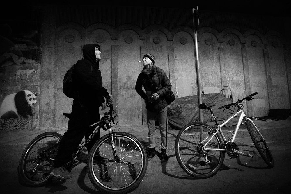 "With their home neatly packed behind them, the couple prepares to venture out on their bikes for a late night shower at a secret location. ""Getting around used to take us forever when we had to walk,"" says Steve. March 29, 2017."