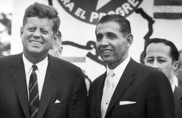 President John F. Kennedy and Ambassador Raymond Telles, the first Latino appointed as an American Ambassedor.