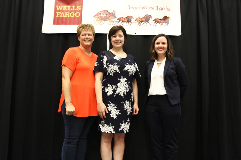 Left-to-right: Teacher Assistant of the Year Sabrina Gold, Teacher of the Year Heather Poston, and Principal of the Year Katie Barbee
