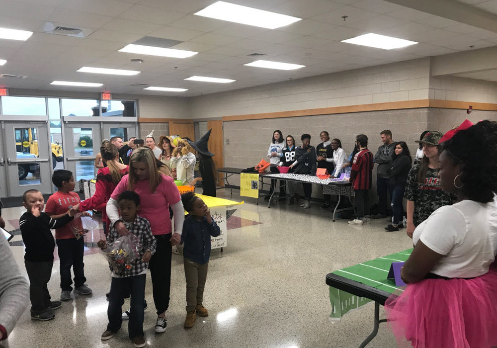 A large crowd of students from Burns High and North Shelby converged to enjoy some Halloween fun