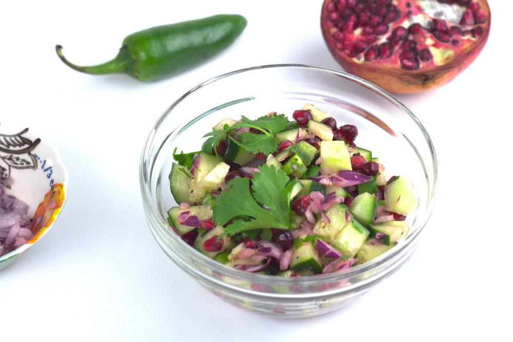 cucumber-pomegranate salsa