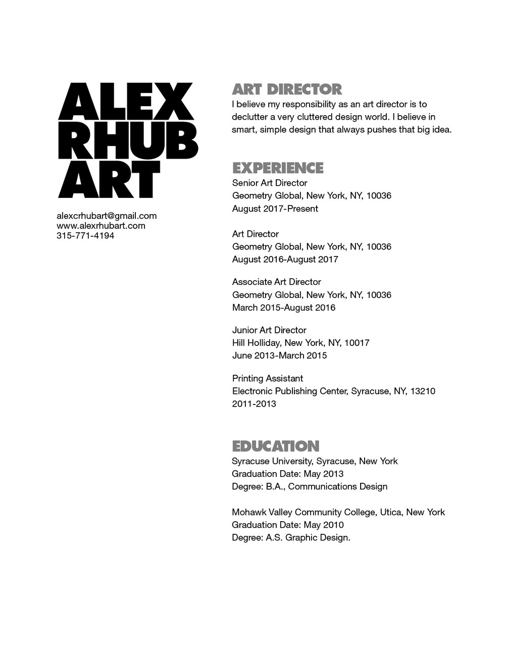resume alex rhubart