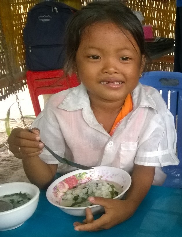 Photo: Sok Raksa, while she was eating meal at the preschool school