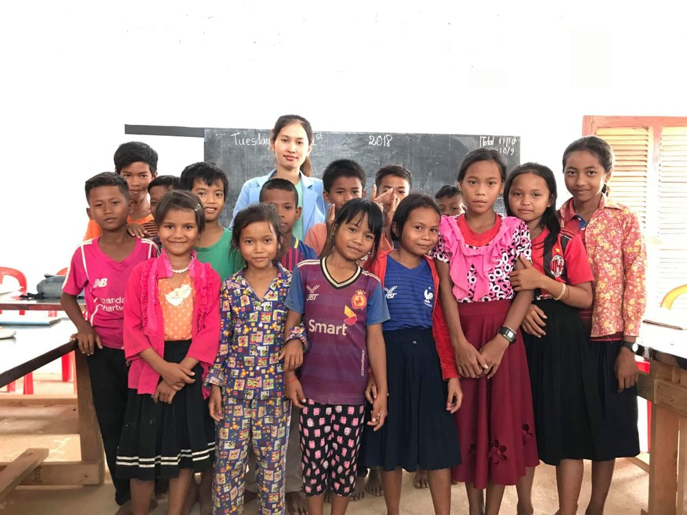Ung Sopheavy with a group of her students
