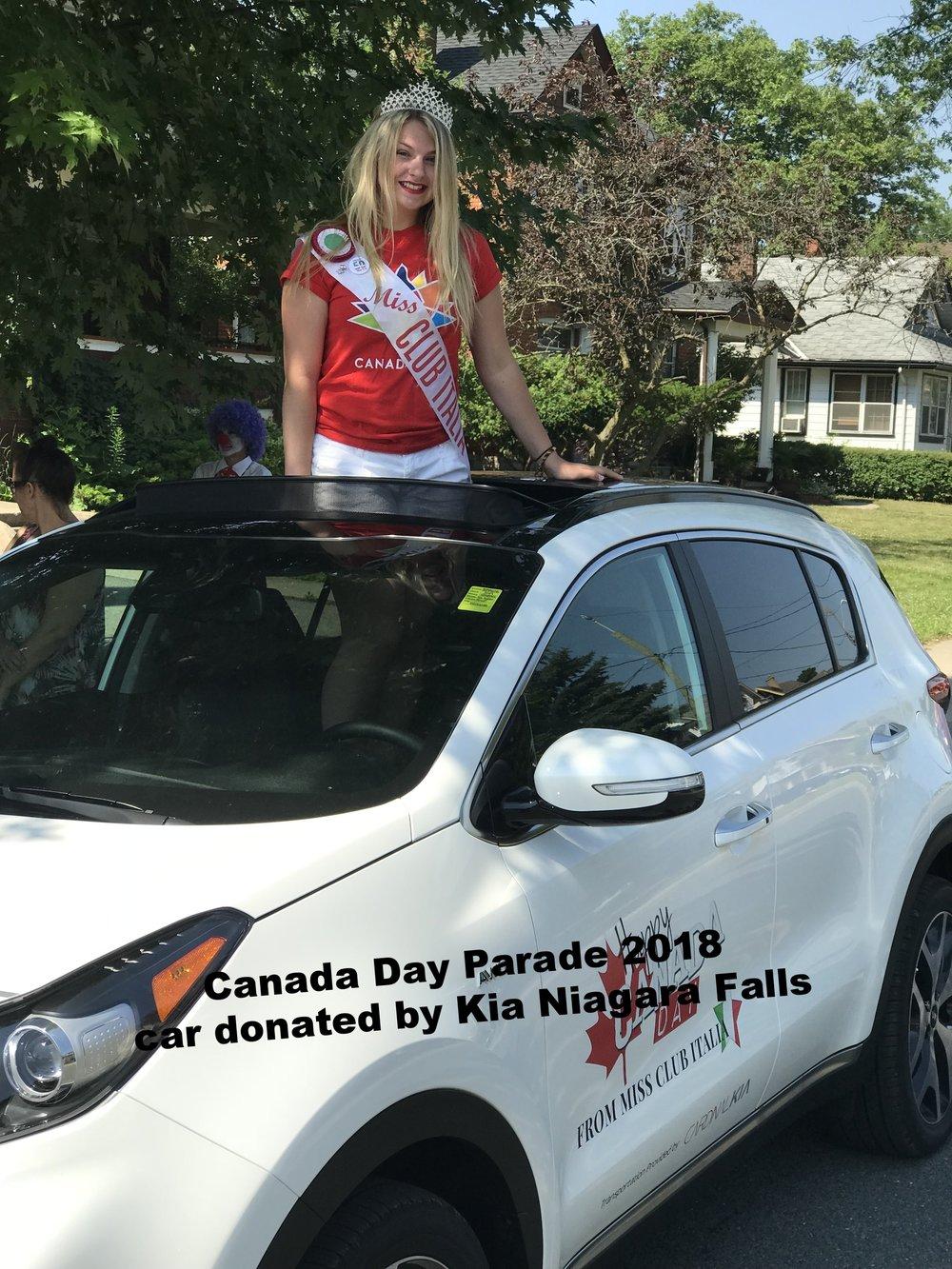 Miss Club Italia Emily Elia Canada Day Parade 2018  Car donated by:  KIA Dealership Niagara Falls