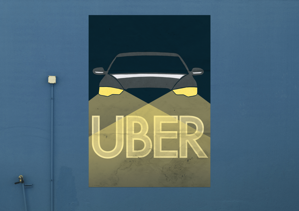 Uber - We designed an Uber historical representation poster concept. This project was created with cut pieces of paper to reflect an era of design.