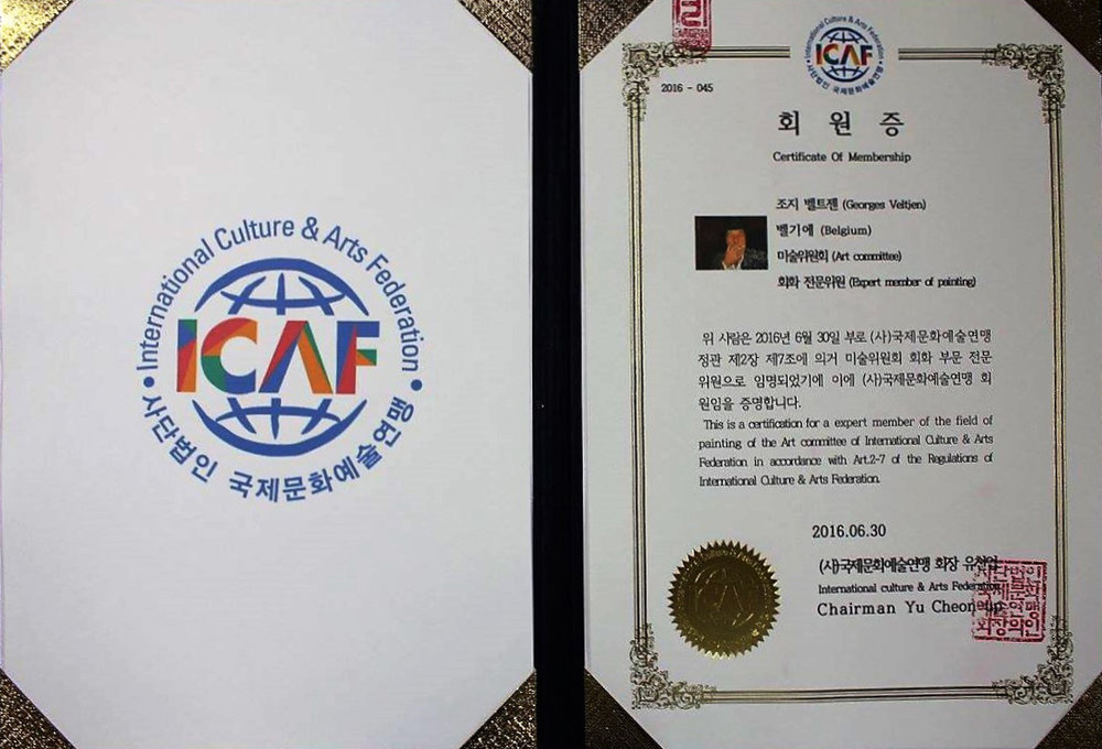 Kunst certificaat: - This is a certification for a expert member of the field of painting of the Art committee of international Culture & Arts Federation in accordance with Art 2 – 7 of the Regulations of International Culture & Arts Federation.South Korea. 2016