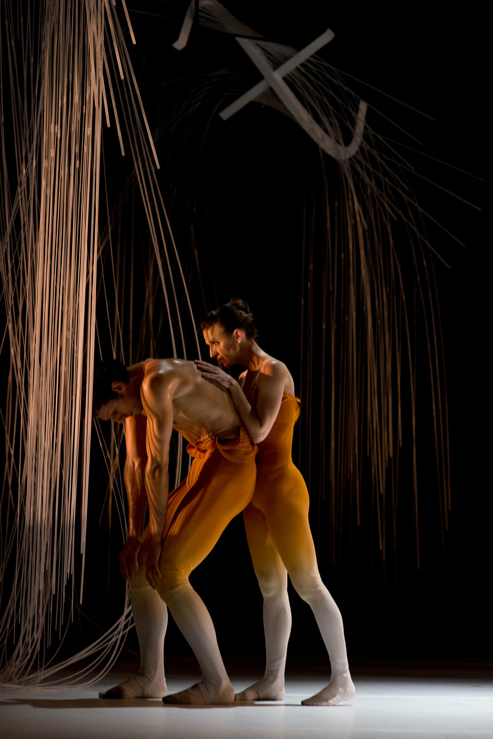 Domenico Luciano and Ashley Flaner in Dekkers'  ourevolution,  costume design by Christine Darch, set design by Robby Gilson, photo by Natalia Perez
