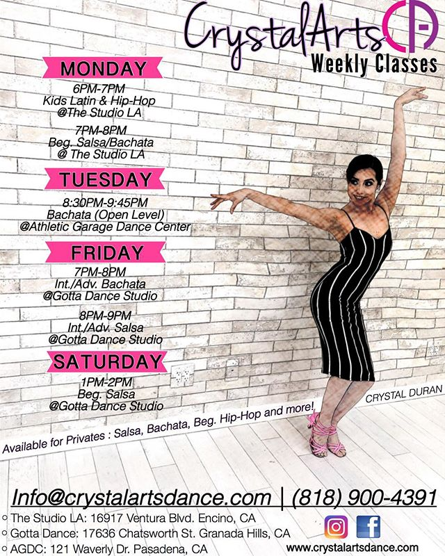 💃🏻🕺🏽💃🏻 CRYSTALARTS CLASS SCHEDULE |  With @crystallinaa -AVAILABLE FOR PRIVATES —————————————————- 📞 Call now to sign-up! www.crystalartsdance.com (818)900-4391