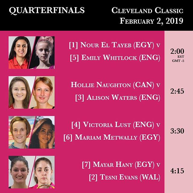 Quarterfinals today in the 2019 Cleveland Classic -- action begins at 2 PM. Livestream link in the profile. #clesquash #clevelandclassic2019