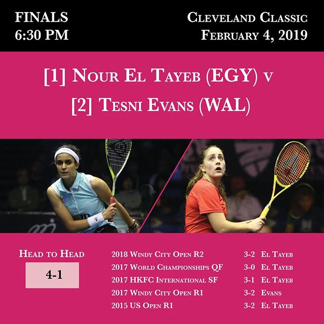 Final is set in the 2019 Cleveland Classic -- tomorrow at 6:30 PM (live feed link in profile). @noureltayeb @tesnievans @psaworldtour #clesquash #clevelandclassic2019