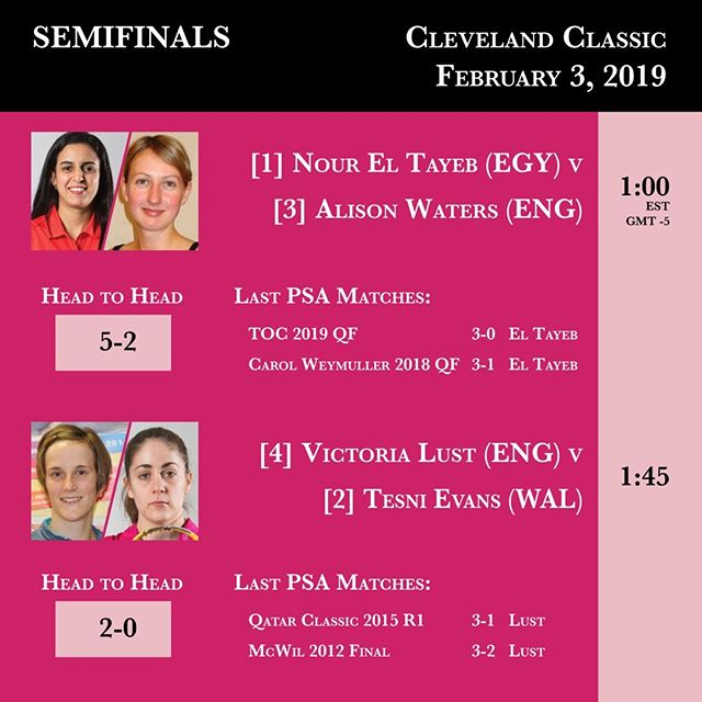 Join us tomorrow for the Cleveland Classic 2019 Semifinals -- action begins at 1 PM EST. Stream in the bio. #clevelandclassic2019 #clesquash @psaworldtour