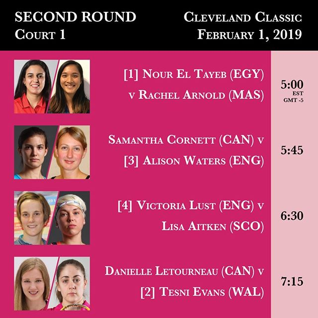 Court 1 Second Round action from the 2019 Cleveland Classic begins February 1 at 5:00 PM. #clesquash #clevelandclassic2019