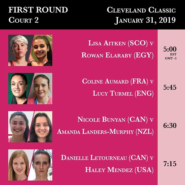 Court 2 first round action from the 2019 Cleveland Classic begins tonight at 5:00 PM. #clesquash #clevelandclassic2019