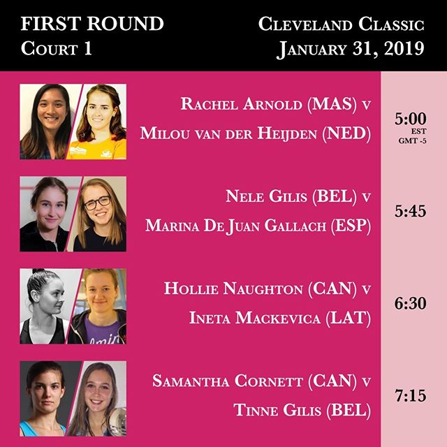 Court 1 first round action from the 2019 Cleveland Classic begins tonight at 5:00 PM. #clesquash #clevelandclassic2019
