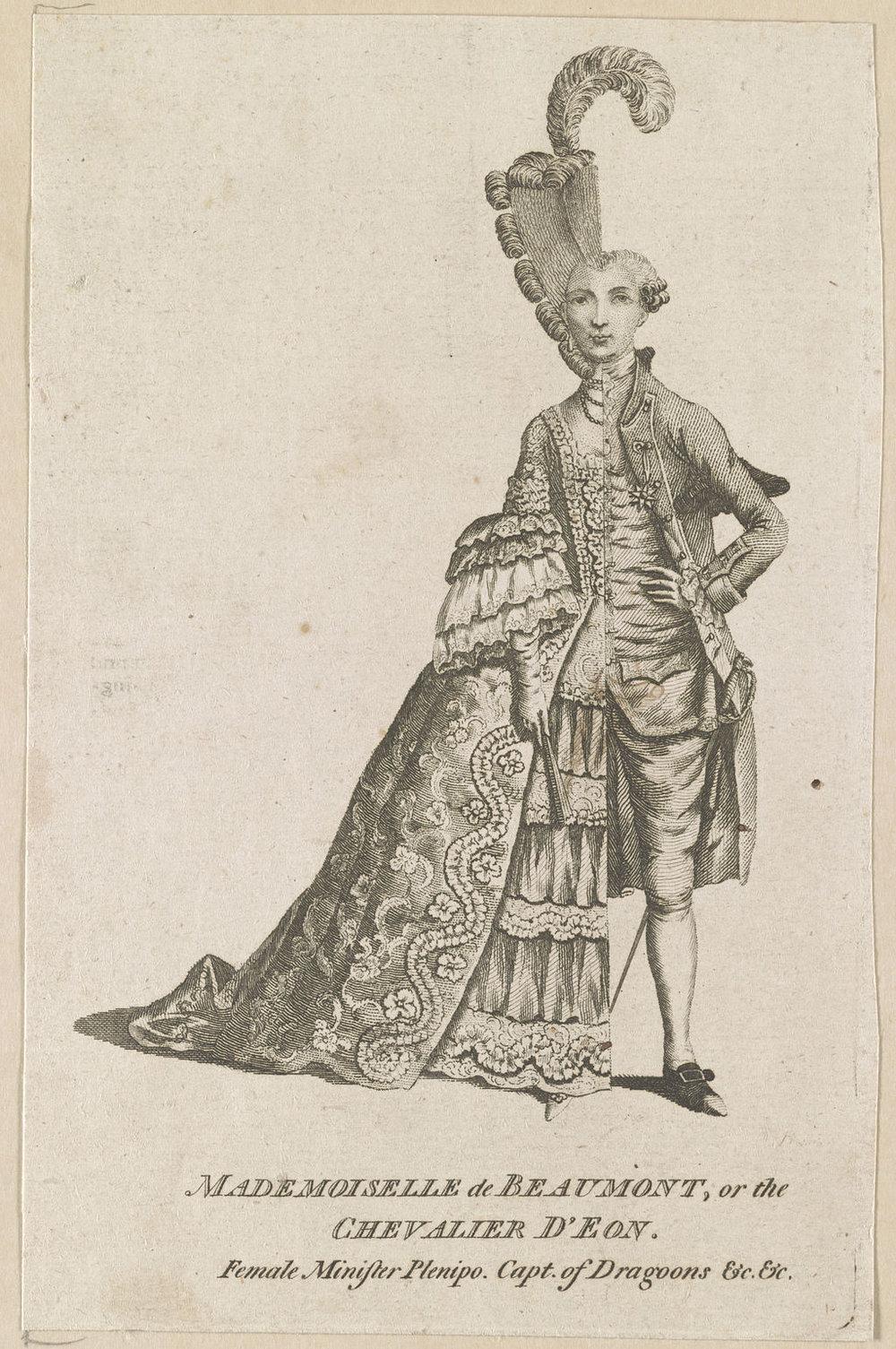 Caricature of Chevalier d'Éon