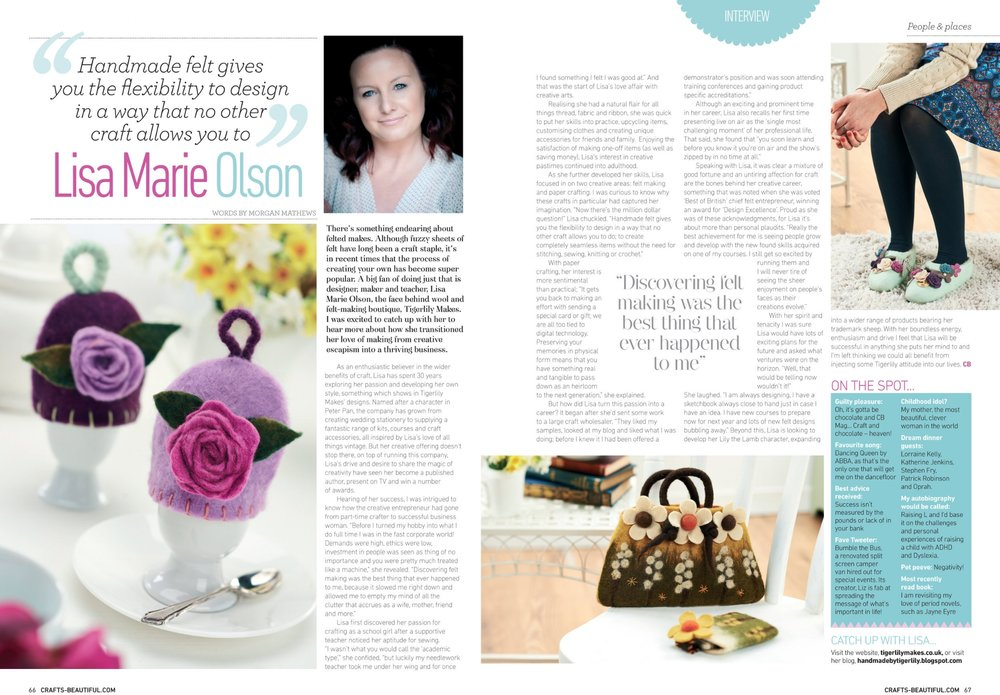 Double Page Feature in  Crafts Beautiful -Featuring Felt Making Kits