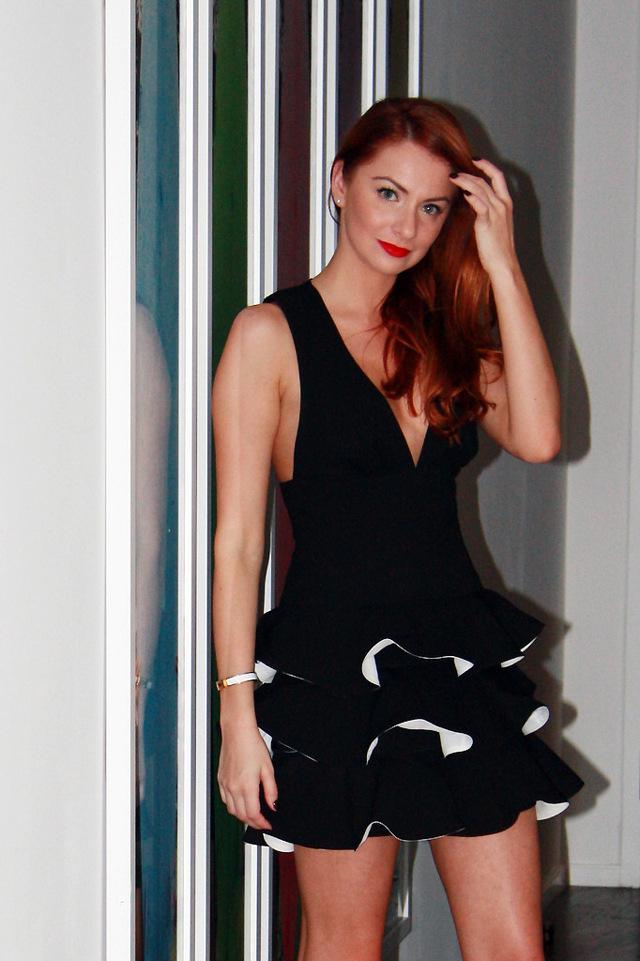 I AM WEARING:    BCBG Max Azria    Katia Ruffled Dress //    Hermes    Clic-Clac H Bracelet //   Lanvin    Nude Pumps