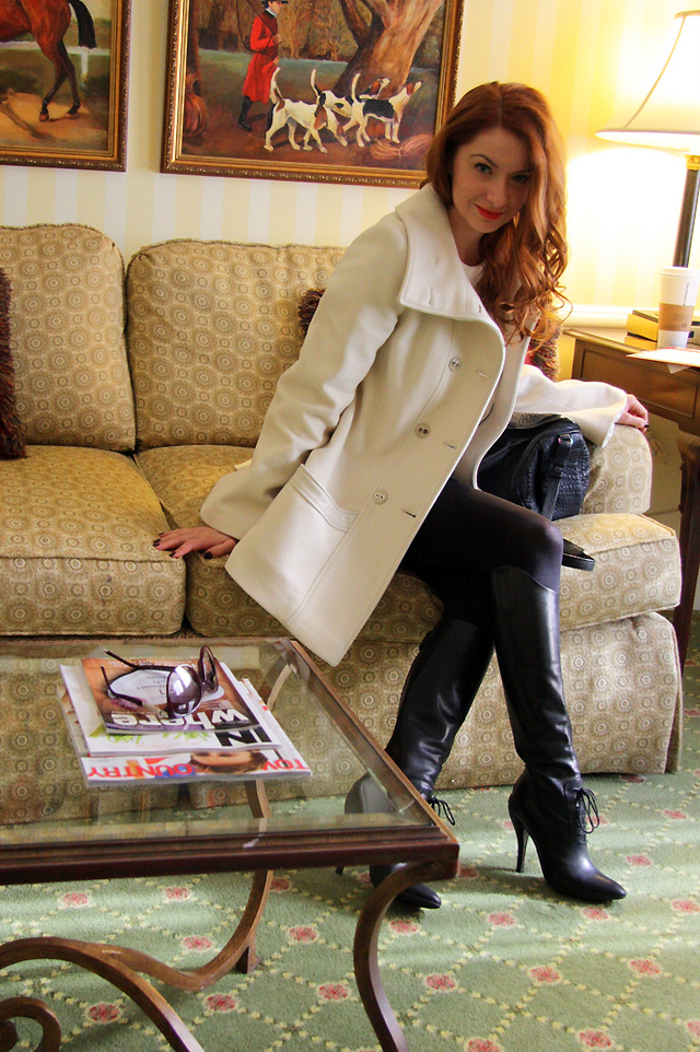 I AM WEARING:    Mackage    MJ Coat in Off White //    Gucci    Knee Boots