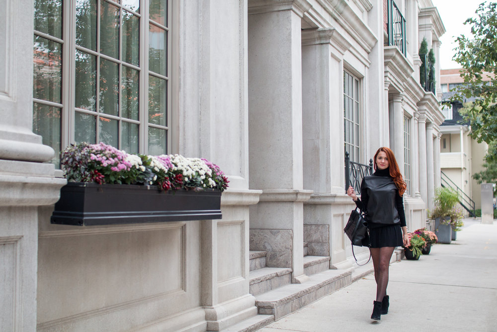 Blogger Marta Tryshak in Equipment Spencer leather and wool turtle neck and bcbgmaxazria valeria skirt, bobbies booties,