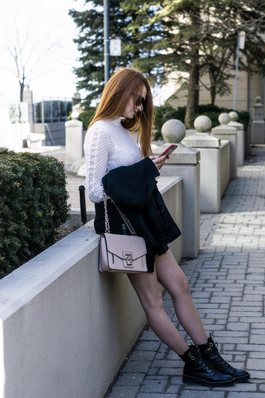 Zara knit with ruffles top  //  Sunday Best Olive Skirt  //  Stuart Weitzman Lexi Boots  // Proenza Schouler Have Purse  //  Christian Dior Cat Eye Sunglasses
