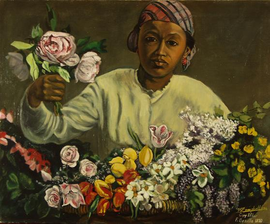 """Copy of Frederic Bazille's  """"Young Woman with Peonies"""""""