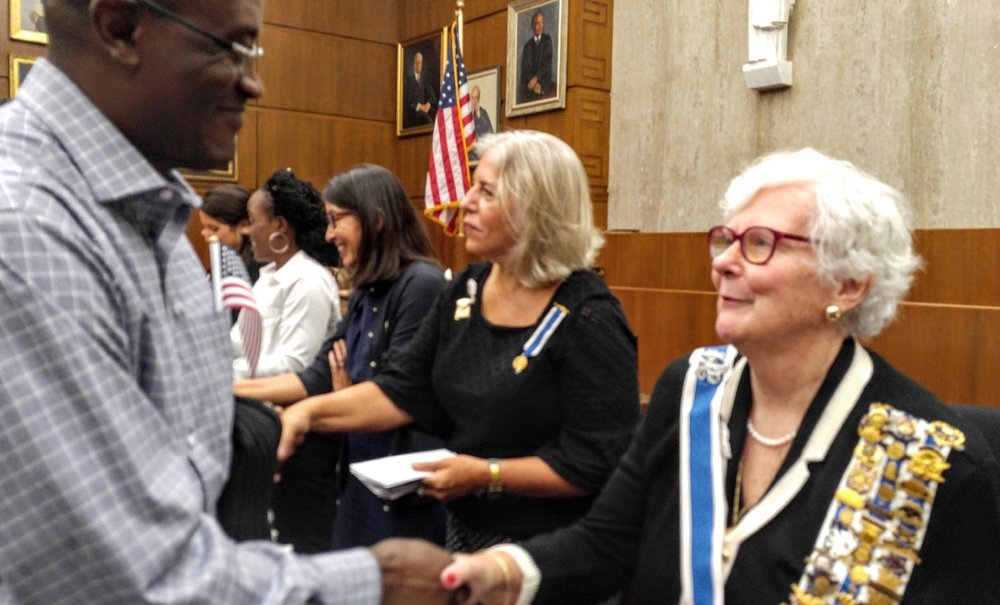 Congratulating new United States citizens.