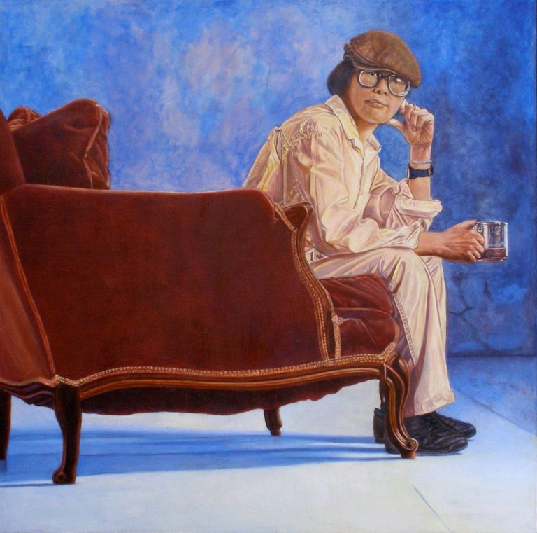 Lenore Chinn.  Detail of Butler's View  (1993); self-portrait, acrylic on canvas. Copyright © Lenore Chinn.