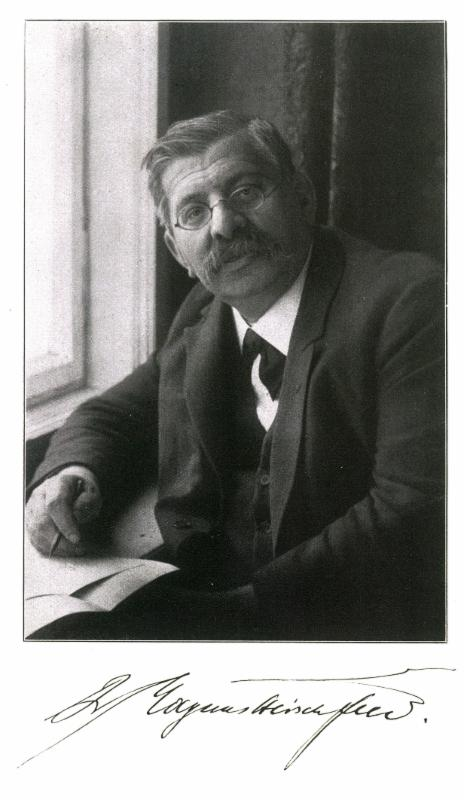 An autographed portrait of Dr. Magnus Hirschfeld (1926); frontispiece of volume one of Hirschfeld's five-volume survey of sexual knowledge,  Geschlechstkunde  (Stuttgart: Julius Püttman Verlag, 1926). Collection of Gerard Koskovich.