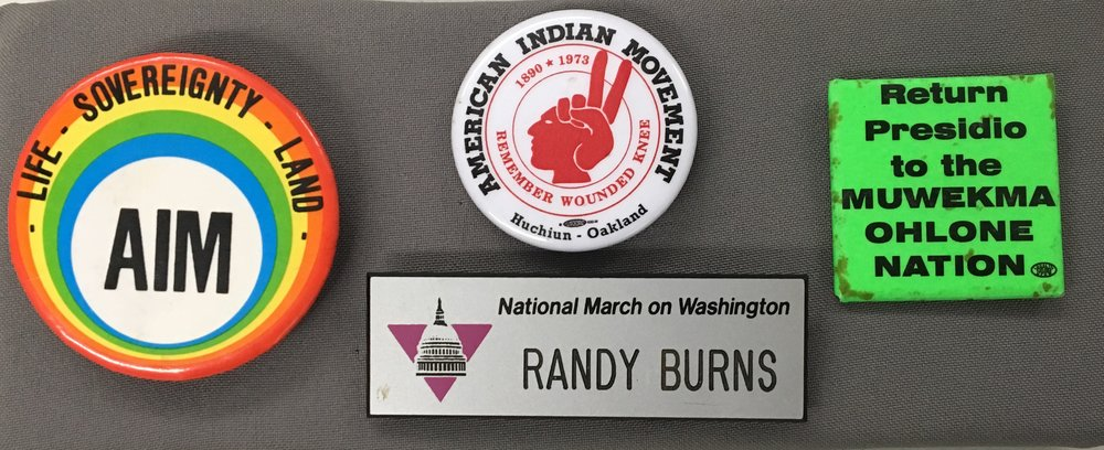 Native American themed buttons from the GLBT Historical Society's Art & Artifacts collection.