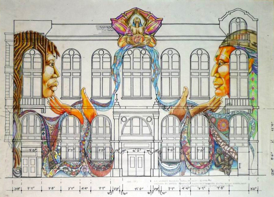 Juana Alicia, Miranda Bergman, Edythe Boone, Susan Kelk Cervantes, Meera Desai, Yvonne Littleton and Irene Perez, Drawing for Maestrapeace Mural, Women's Building (ca. 1993), pen and ink with color pencil on blue print, GLBT Historical Society.