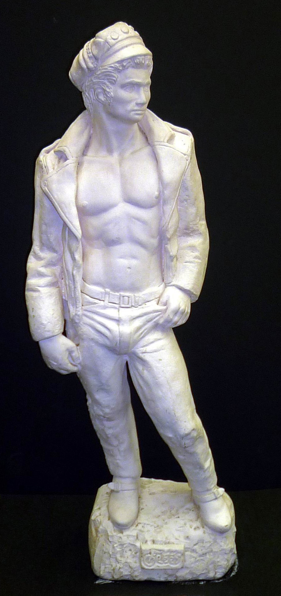 Michael Caffee, Fe-Be's Leather David (1966), cast plaster sculpture with Fe-Be's plaque on base, GLBT Historical Society.