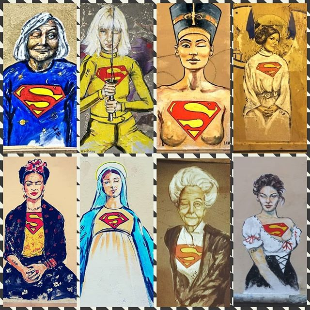Who doesn't identify in at least one of these amazing women?  Happy International Women's Day to each and Every One of us.  We rock 💓  #lediesis #internationalwomensday #streetart #festadelladonna #supporteachother #superwoman #thisisus