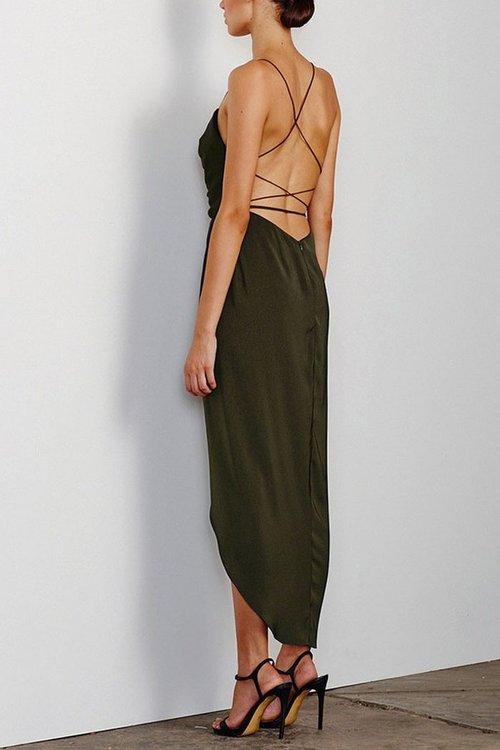 d2ad9a61651 Shona Joy Cowl Neck Khaki Dress