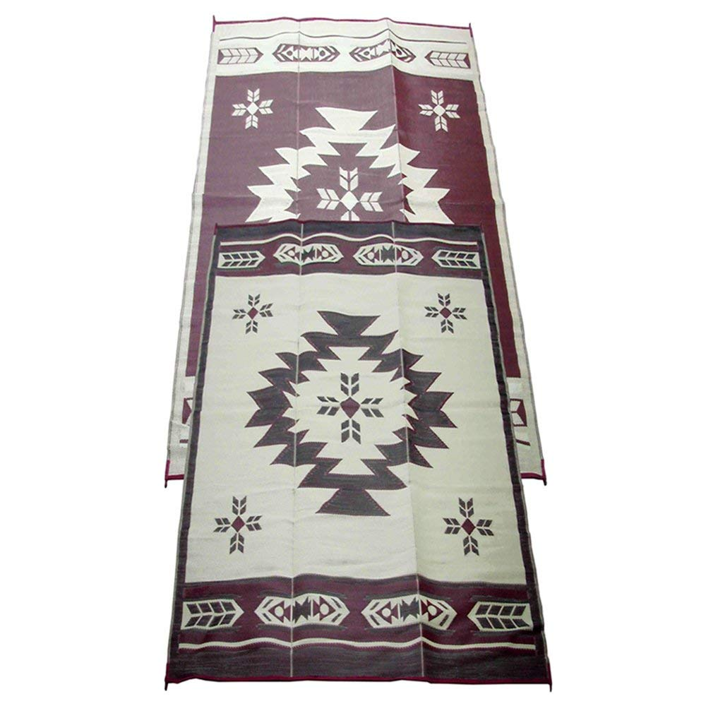 Fireside Patio Mats Navajo Breeze Burgundy And Beige 9 ft. x 18 ft. Polypropylene Indoor:Outdoor Reversible Patio:RV Mat.jpg