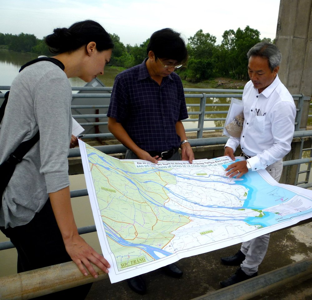 Locating sites of water management infrastructure in the Mekong Delta.