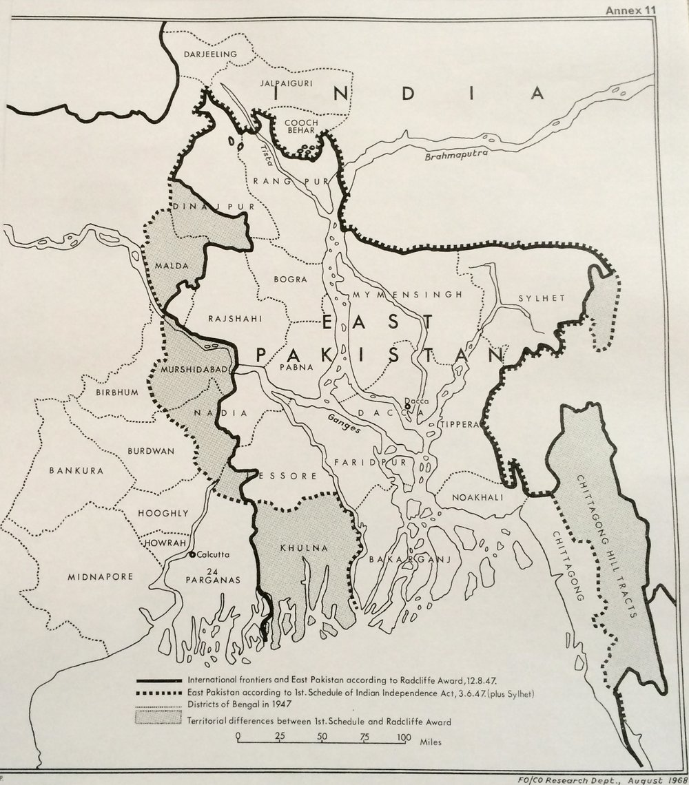 The radcliffe line established the international rivers between india and east pakistan (now bangladesh) in 1947. (Image: British library)