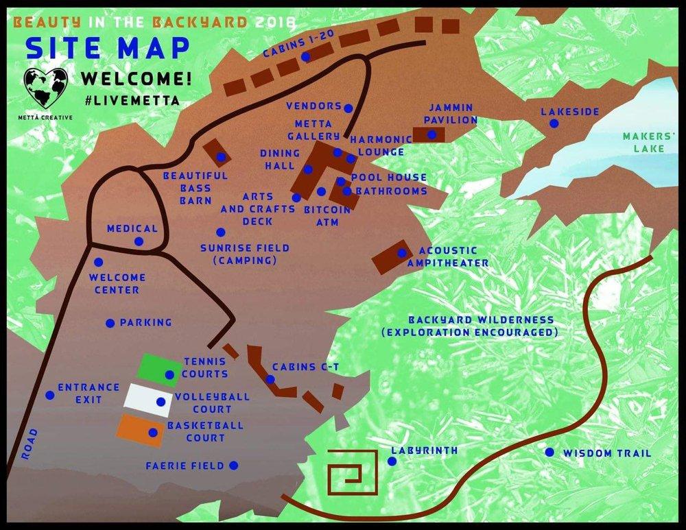 MAP - BITB map beauty in the backyard 2018 metta creative makers mettā festival maryland darlington md camp ramblewood #livemetta #partywithpurpose