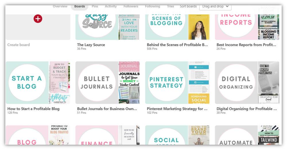Screenshot of The Lazy Source's Pinterest account board covers