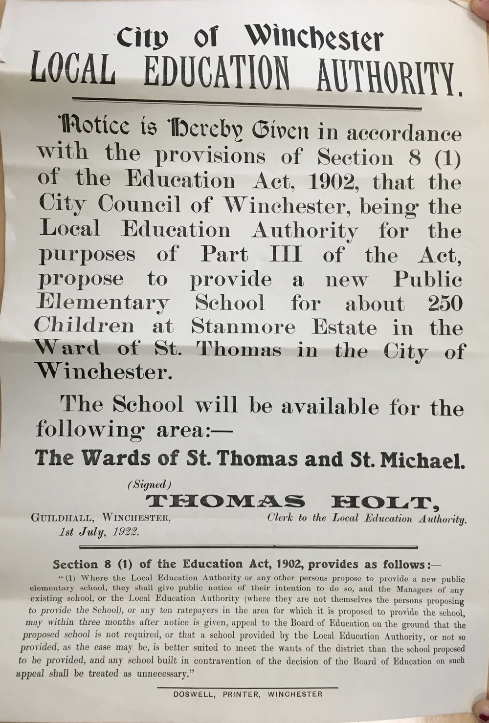 "Poster giving notice of the city's proposal to provide ""a new public elementary school for about 250 children at Stanmore Estate"", Jul 1922   Courtesy of Hampshire Archives"
