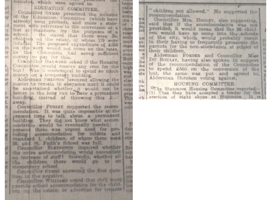 Report from the Education Committee, agreeing to create a new school  Hampshire Chronicle, 8 July 1922