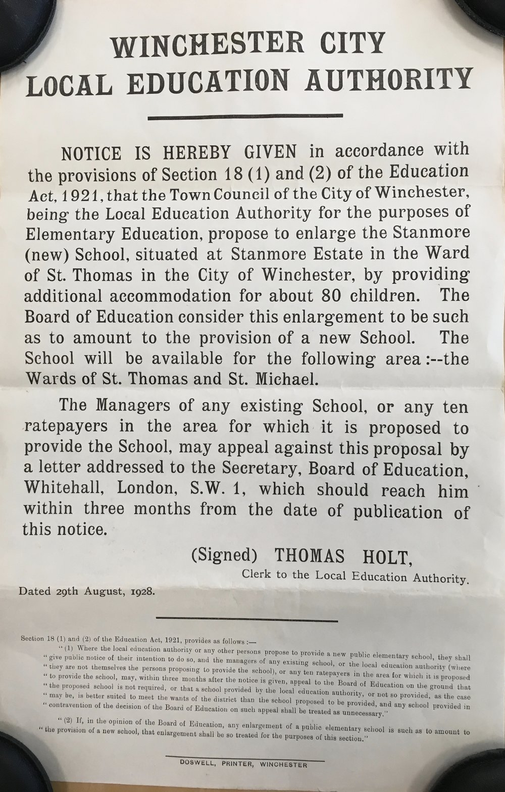 Poster giving notice of the city's proposal to provide additional accommodation for about 80 children, Aug 1928   Courtesy of Hampshire Archives