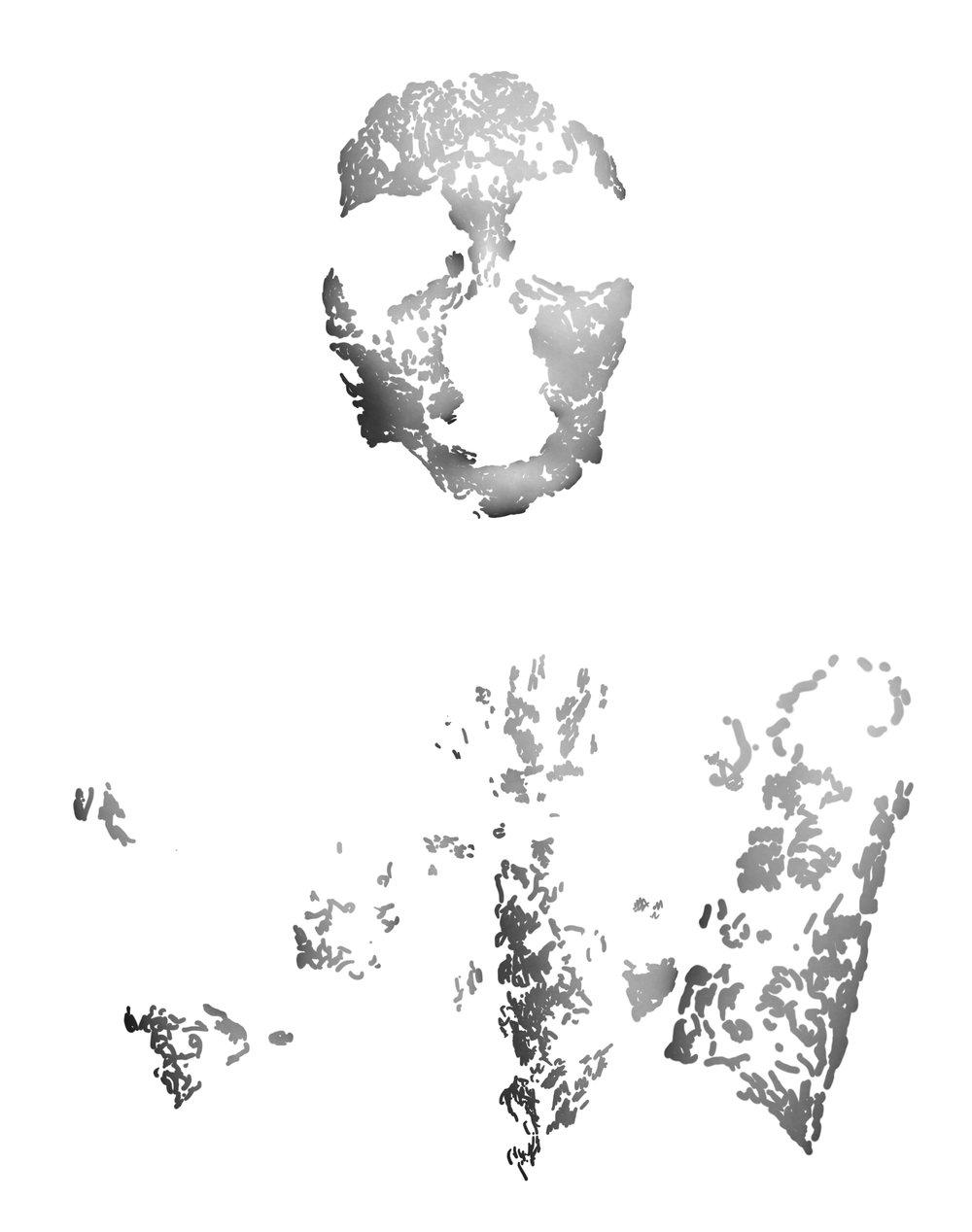 Réalité masquée,(H x L x l) : 60 cm x 50 cm x 0,3 cm Papier Pearl contrecollé sur Dibond 2mm 2016