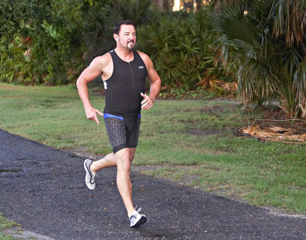 Howard during his 2018 triathlon training.