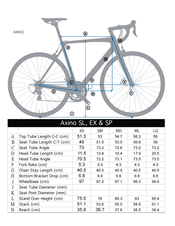 Frame Geometry -  To select the right size it is recommended you compare your current bicycle frame geometry to the ones shown for this bicycle.  Variances of a few cm can make a big difference in how it fits.  To get a perfect fit or if this is your first bicycle of this type a bike shop can be a big help in determining what dimensions fit your specific body best.   Below are some general guidelines on sizes to get you started in determining the right one for you.  If you have questions about the sizing please send us an email to sales@rideblue.comXS - Heights 5'2